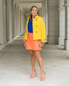 Yellow coat, cobalt top, orange skirt