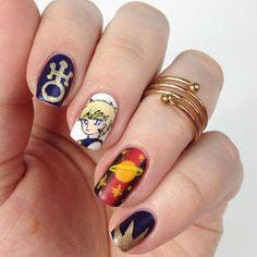 Sailor Uranus inspired nailart by http://nisinails.de/sailor-moon-blogparade-sailor-uranus-nageldesign/