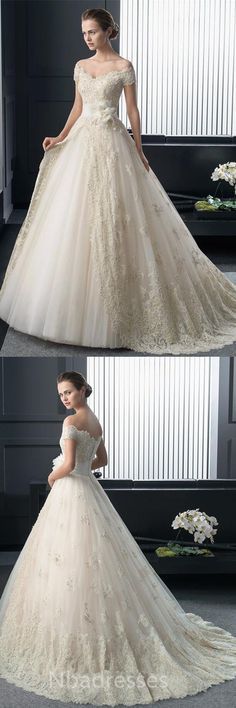 Fashion Off Shoulder Sleeve Wedding Dress Court Train With Lace Appliques