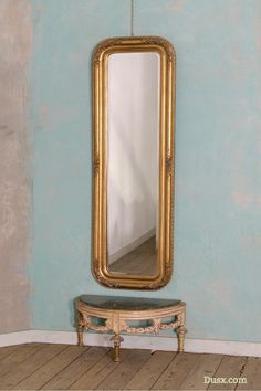 Louis Philippe Fleur Gold Gilt Leaf Large Floor Standing Leaner Mirror : For sale at www.DUSX.com