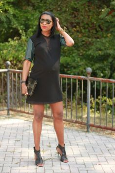 Beaute' J'adore: DIY Leather, crepe and viscose shift dress