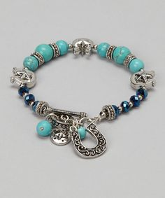 Take a look at this Gabrielle Jewelry Silver & Turquoise Horseshoe Star Charm Bracelet on zulily today!