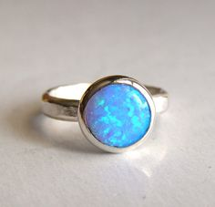Blue Opal ring Fine Silver ring . Stacking by OritNaar on Etsy