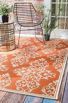 "Transitional Indoor/ Outdoor Damask Porch Orange Rug, 5 Feet 3 Inches by 7 Feet 6 Inches (5' 3"" x 7' 6"") Rugs USA http://www.amazon.com/dp/B011375YVI/ref=cm_sw_r_pi_dp_4M5Fwb0FD0BK1"