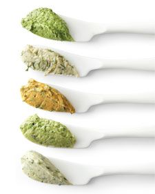 Flavored butters ... watercress and lemon; dill, grapefruit and fennel; cilantro and curry; pea and tarragon; chive and mustard