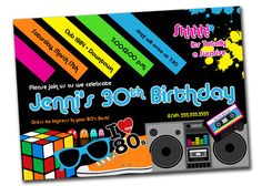 80's Theme Digital Birthday Party Invitation  YOU PRINT by khudd, $10.00