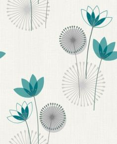 Akina (75464) - Albany Wallpapers - Akina is a contemporary flower motif. This retro-influenced design is brought to life with pools of mica and also stunning highlights of glitter. Shown in teal blue on off white - more colours are available. Please request a sample for true colour match