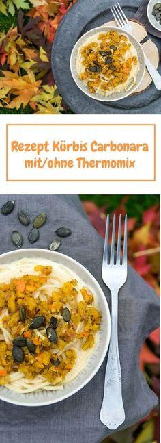 Spaghetti mit Kürbis Carbonara - genau das richtige Rezept für den Herbst. Ganz einfache Variante einer Carbonara mit Hokkaido - inkl. Thermomix Rezept. #kürbis #kürbisrezept #thermomixrezepte #pasta