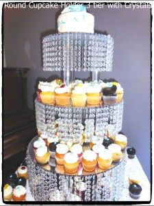 Square Cake Stand 3 Tier 30 Inch Tall Crystals