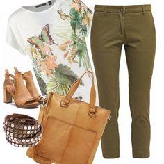 Colori tenui per questo outfit che ci fa sentire in sintonia con la natura. La semplice t-shirt bianca è arricchita da una stampa floreale, pantalone verde-marrone. Borsa e scarpe color cognac. Bracciale in cuoio con borchie. Adatto per il giorno, ideale per una passeggiata all'aria aperta.