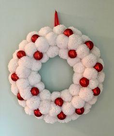 Snowball Pom Pom Wreath, Yarn Wreath, White and Red Wreath, Christmas Wreath, Sparkly Wreath, Indoor Wreath, Christmas Decor by CircleDecorWreaths on Etsy https://www.etsy.com/listing/549592856/snowball-pom-pom-wreath-yarn-wreath