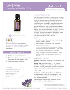 Lavender product information page from doTERRA essential oils. Infographic.