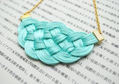 Knotted rattail necklace in mint and gold nautical por elfinadesign