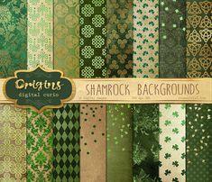 Shamrock Digital Paper Green Celtic Digital by OriginsDigitalCurio
