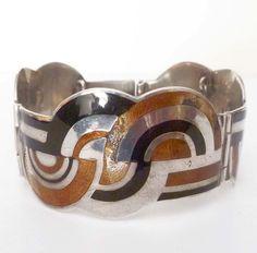Vtg Margot de Taxco Mexico Sterling Silver Art Deco Enamel Panel Bracelet TLC