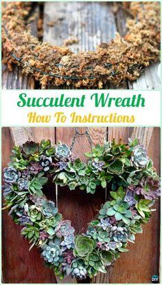 DIY Hanging SucculentWreath Instruction- DIY Indoor Succulent Garden Ideas Projects