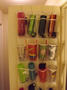 Use an over the door shoe organizer to reclaim cabinet space...