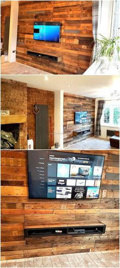 Now here is a reclaimed wood pallet wall cladding and TV stand idea that requires some time in creation, but looks awesome as it is unique and makes the area look attractive. There is a space for attaching the TV as well as for placing the items linked to the TV like DVD player.