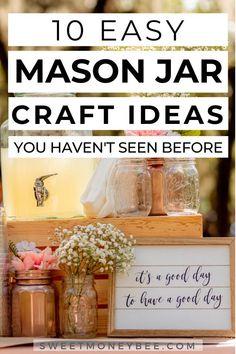 Mason Jar Candle Holders, Mason Jar Gifts, Mason Jar Diy, Diy Jars, Diy Crafts For Adults, Diy Arts And Crafts, Quick Crafts, Crafts With Glass Jars, Jar Crafts