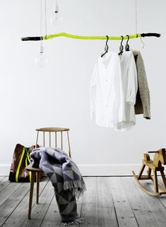 Painted driftwood as a clothing rack! Painted Driftwood, Painted Wood, Interior And Exterior, Interior Design, Clothes Rail, Clothes Hanger, Hanging Clothes, Hanging Shelves, Hanging Rail