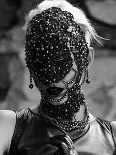 beaded bobbin lace mask by Olga Berg from Frau Berg Accessories. www.frauberg.net