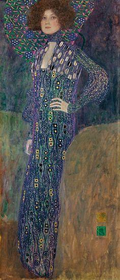 """Gustav Klimt,  Austria 1862 – 1918, """"Emilie Flöge,"""" 1902, oil on canvas  31.5 x 70 inches, Wien Museum, Vienna"""