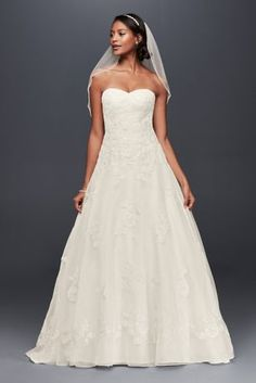 Superb Organza A Line Wedding Dress with Beaded Appliques Style WG