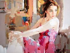 """Josef Kote """"The Promise""""  This piece is wonderful because of its great contrast in detail. Background and person's body are roughly detailed which emphasizes on the detail of the face and eyes of the person. The use of color is very attractive to the eyes bringing out the pink color of the dress."""