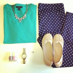 The sweater color is amaze! And the polka dots are of course a must have!