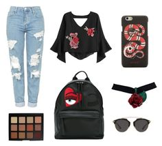 """""""Kania"""" by afirarifdah on Polyvore featuring Topshop, Morphe, Christian Dior, Chiara Ferragni and Gucci"""