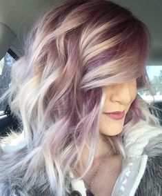 Modern hair color ideas/ Purple and Platinum / Follow me @ Melissa Riley- for more modern hair color and style ideas, modern eye makeup ideas, modern wedding ideas, women's fashion and more. transcendentwoman