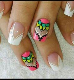 New simple manicure mandalas 51 ideas Nails French Manicure Acrylic Nails, French Nail Art, French Tip Nails, French Manicures, Crazy Nails, Manicure E Pedicure, Stylish Nails, Fabulous Nails, Creative Nails