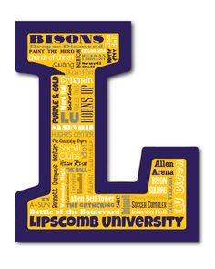 "Original artwork using words to describe ""LIPSCOMB UNIVERSITY"" -- Show off your Bisons pride in your home/dorm room/office with this print that details the many words for all things LU like The Gathering, Paint the Herd, Singarama, Battle of the Boulevard and more. Come visit the Lexicon Delight Etsy store!"