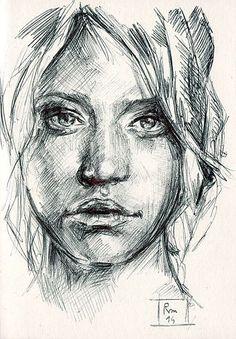 Riccardo Martinelli - Volto - ballpoint pen