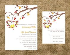 PRINTABLE Love Birds and Tree Leaves Branch Fall Autumn Wedding invitation set - all colors can be changed
