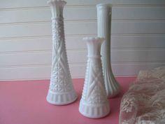 Vintage Milk Glass Bud Vase Trio Hoosier  by mymilkglassshop, $18.50