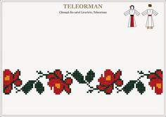 Semne Cusute: Romanian traditional motifs - MUNTENIA - Teleorman... Cross Stitch Borders, Cross Stitch Flowers, Cross Stitching, Cross Stitch Patterns, Folk Embroidery, Cross Stitch Embroidery, Embroidery Patterns, Loom Beading, Beading Patterns