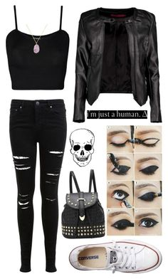 """I'm Just a Human"" by bandlover11132 ❤ liked on Polyvore featuring Miss Selfridge, Boohoo, WearAll, Converse, BaubleBar, women's clothing, women, female, woman and misses"