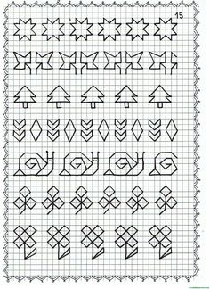 Cenefas - dibujos en cuadrícula para imprimir - Web del maestro Blackwork Patterns, Blackwork Embroidery, Cross Stitch Embroidery, Embroidery Patterns, Cross Stitch Patterns, Graph Paper Drawings, Graph Paper Art, Art Watercolor, Bullet Journal Inspiration