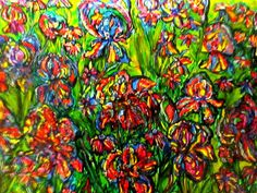 Iris flowers glazed acrylic and pen painted on wood varnished gesso surface before photo. Expressionistic, impressionistic,abstract.