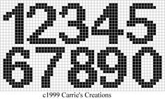 cross stitch pattern for numbers Crochet Alphabet, Crochet Letters, Alphabet Charts, Cross Stitch Numbers, Cross Stitch Letters, Cross Stitching, Cross Stitch Embroidery, Crochet Numbers, Bobble Stitch