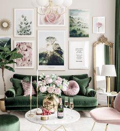 Living Room Green, Green Rooms, New Living Room, Home And Living, Living Room Decor, Bedroom Decor, Living Room Gallery Wall, Elegant Living Room, Interior Design Living Room