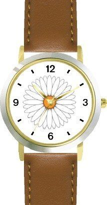 White Daisy Flower Flower - JP - WATCHBUDDY® DELUXE TWO-TONE THEME WATCH - Arabic Numbers - Brown Leather Strap-Size-Children's Size-Small ( Boy's Size & Girl's Size ) WatchBuddy. $49.95
