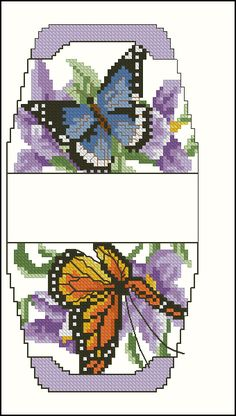cross-stitch more butterflies purse pattern... no color chart available, just use pattern chart as your color guide.. or choose your own colors...