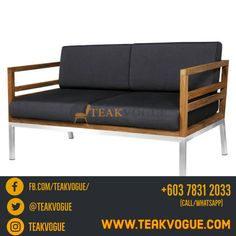 Vancouver Double Seater Sofa Size: L 55.1″ (140 cm) x D 29.9″ (76 cm) x H 25.9″ (66 cm) Materials: 100% Grade A Teak Wood, Stainless Steel Warranty: 5 Years Origin: Indonesia #TeakvogueMalaysia #Teakvogue #Malaysia #outdoor #sofa #stainless #steel #teak #cushion #furniture #design #idea #interiordesign Outdoor Sofa Sets, Outdoor Furniture, Outdoor Decor, Shah Alam, Teak Wood, Kuala Lumpur, 5 Years, Vancouver, Furniture Design
