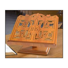 IHS Oak Wood Carved Bible Or Missal Stand
