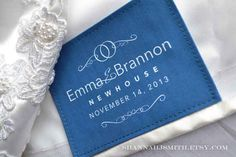 Need something blue? How about a personalized wedding dress label with the date of your special day | 28 Creative And Meaningful Ways To Add A Personal Touch To Your Wedding