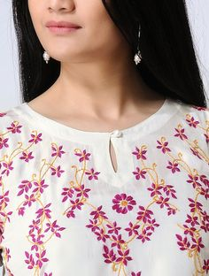 Ivory-Pink Chikankari Hand-Embroidered Silk Top Churidhar Neck Designs, Salwar Neck Designs, Churidar Designs, Kurta Neck Design, Neck Designs For Suits, Neckline Designs, Kurta Designs Women, Blouse Neck Designs, Simple Kurti Designs