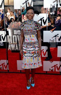 Lupita Nyong'o wore a rainbow of colors at the MTV Movie Awards
