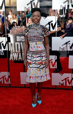 Lupita Nyong'o wore a rainbow of colors at the MTV Movie Awards